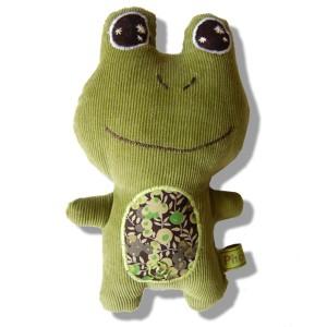 doudou grenouille ventre liberty vert
