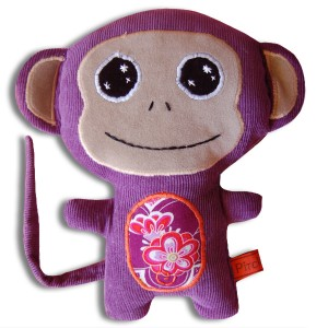 doudou singe violet fleur japonaise